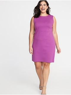 Slub-Knit Ponte Plus-Size Sheath Dress