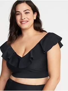 Ruffled V-Neck Plus-Size Long-Line Swim Top