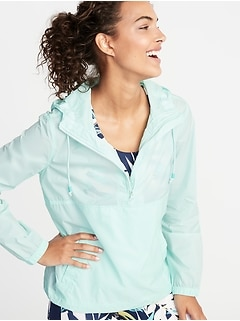 Hooded 1/2-Zip Pullover Anorak for Women