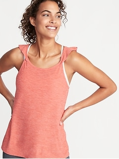 Breathe ON Relaxed Ruffle-Trim Tank for Women