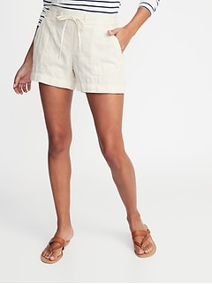 Mid-Rise Soft Twill Pull-On Shorts for Women - 4-inch inseam