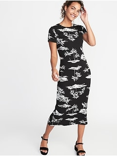 Fitted Jersey Midi Tee Dress for Women