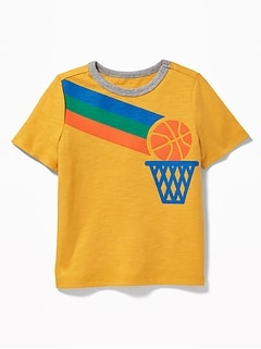 Graphic Crew-Neck Slub-Knit Tee for Toddler Boys