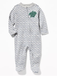 Wave-Print Turtle-Graphic Footed One-Piece for Baby