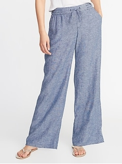 Mid-Rise Wide-Leg Linen-Blend Pants for Women