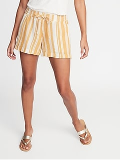 Mid-Rise Linen-Blend Striped Shorts for Women -- 4-inch inseam