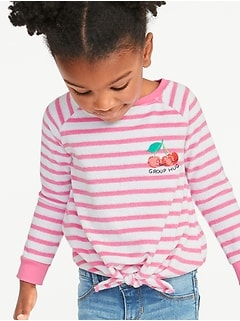 Striped Graphic Loop-Terry Tie-Hem Top for Toddler Girls