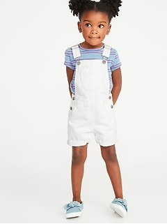 White Jean Shortalls For Toddler Girls