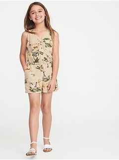 Linen-Blend Utility-Pocket Romper for Girls