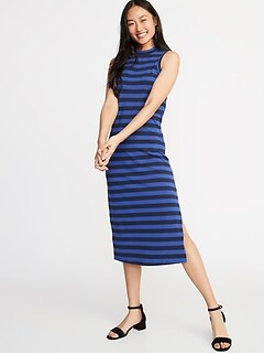 Sleeveless High-Neck Jersey Midi for Women