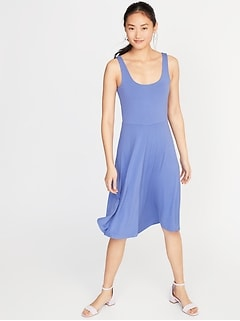Sleeveless Jersey Fit & Flare Dress for Women