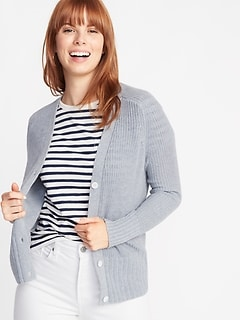 Shaker-Stitch Button-Front Cardi for Women