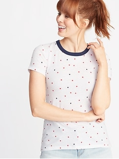Slim-Fit Americana Stars-Print Tee for Women