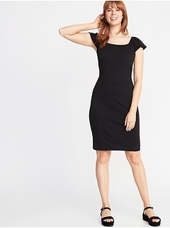 Ruffle-Trim Ponte-Knit Sheath Dress for Women