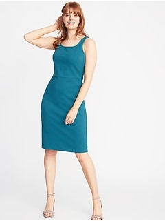 Ponte-Knit Square-Neck Sheath Dress for Women