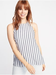 Sleeveless Striped High-Neck Top for Women