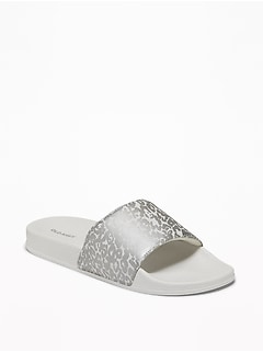 Faux-Leather Pool Slide Sandals for Women