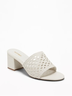Basket-Weave Faux-Leather Block-Heel Mules for Women