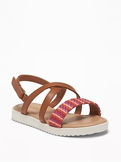 Textured Cross-Strap Platform Sandals For Toddler Girls