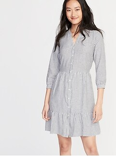 4fae5758624 Waist-Defined Striped Shirt Dress for Women