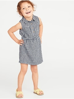 Sleeveless Gingham Shirt Dress for Toddler Girls