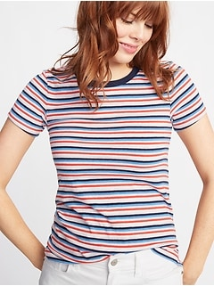 Slim-Fit Striped Ringer Tee for Women
