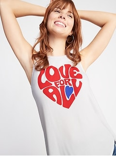 "Luxe ""Love For All"" Graphic Swing Tank for Women"