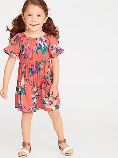 Floral Ruffle-Trim Crepe Dress for Toddler Girls