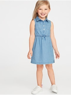 Sleeveless Chambray Shirt Dress for Toddler Girls