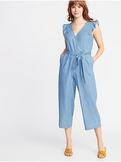 Chambray Faux-Wrap Tie-Belt Jumpsuit for Women