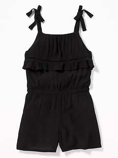 Ruffled Bodice Romper for Girls