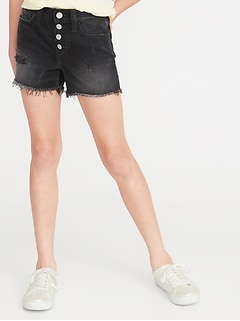 High-Rise Button-Fly Distressed Black Denim Shorts for Girls