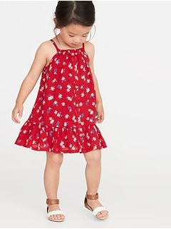 Printed Button-Front Tiered Dress for Toddler Girls