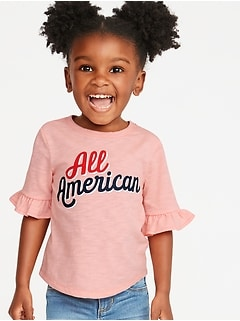 Americana-Graphic Ruffle-Sleeve Tee for Toddler Girls