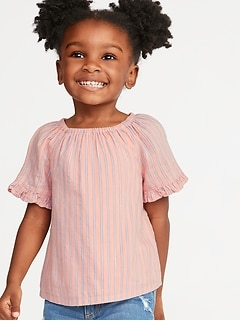 Striped Ruffle-Trim Swing Top for Toddler Girls