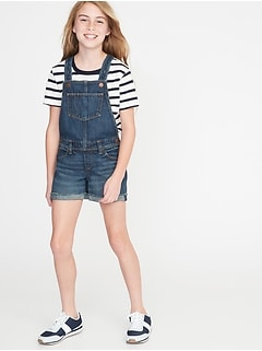 Cuffed Raw-Hem Jean Shortalls For Girls