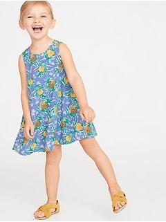 Printed Sleeveless Swing Dress for Toddler Girls