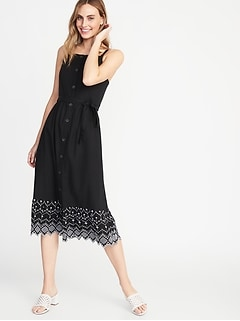 Square-Neck Button-Front Midi Dress for Women