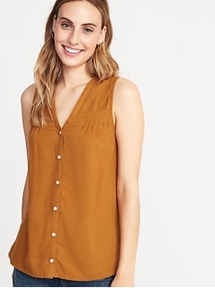 Sleeveless Pintucked Linen-Blend Top for Women
