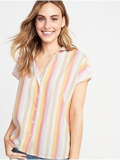 Printed Button-Front Shirt for Women