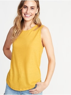 Relaxed Tie-Back Linen-Blend Sleeveless Top For Women