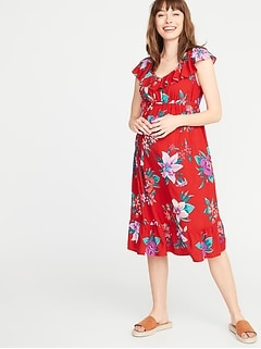 Maternity Ruffled Tie-Belt Waist-Defined Dress