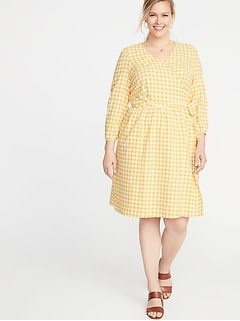 Waist-Defined Plus-Size Wrap-Front Dress