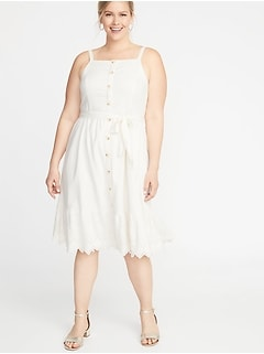 Square-Neck Button-Front  No-Peek Plus-Size Midi