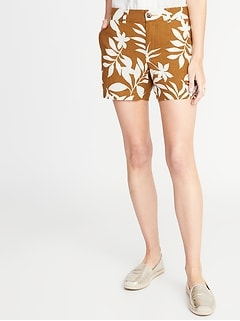 Mid-Rise Printed Linen-Blend Everyday Shorts for Women - 5-inch inseam