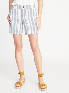 Mid-Rise Striped Twill Everyday Shorts for Women - 7-inch inseam