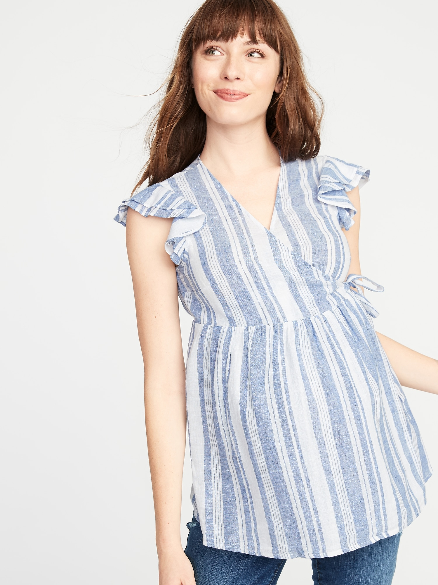 af970ad874320 Maternity Ruffled Linen-Blend Wrap Top | Old Navy