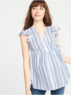 Maternity Ruffled Linen-Blend Wrap Top