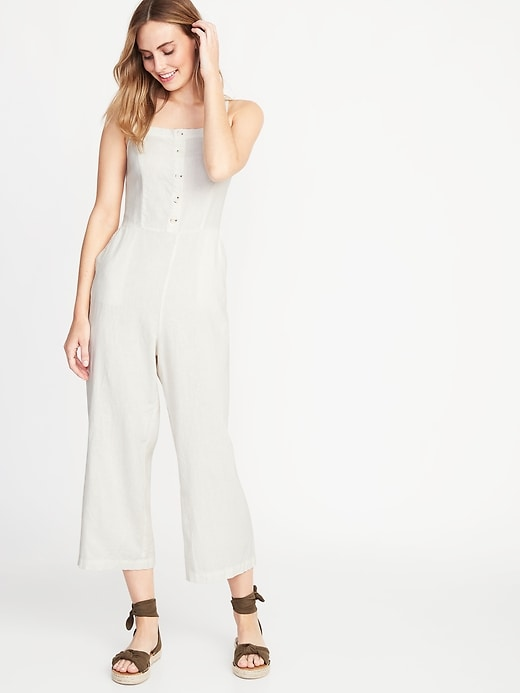Button-Front Linen-Blend Cami Jumpsuit for Women