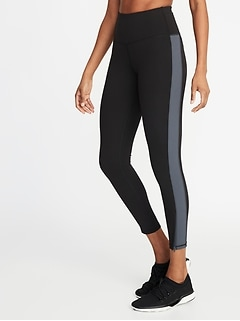 High-Rise Side-Stripe 7/8-Length Street Leggings for Women